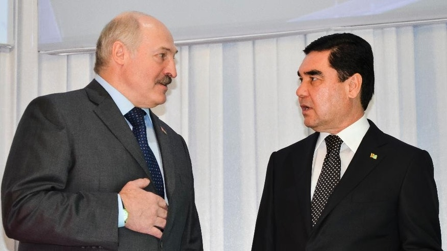 Turkmenistan's President Gurbanguly Berdymukhamedov, right, speaks with Belarusian President Alexander Lukashenko during the opening ceremony of a potash fertilizer plant in Garlyk, Turkmenistan, Friday, March 31, 2017. Leaders of ex-Soviet nations of Turkmenistan and Belarus have attended the launch of the huge potash fertilizer plant worth more than $1 billion. (AP Photo)