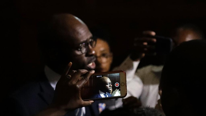 Newly appointed finance minister Malusi Gigaba, speaks to journalists at the presidential guest house in Pretoria, South Africa, Friday, March 31, 2017.   The firing of former finance minister Pravin Gordhan on Friday sent the currency tumbling by close to 5 percent and brought fresh anger at Zuma as a split in the ruling party deepened. (AP Photo/Themba Hadebe)