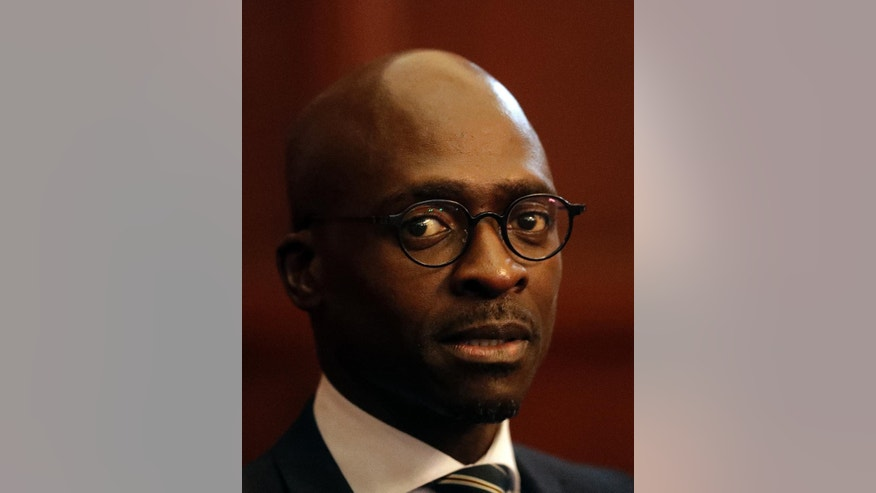 Malusi Gigaba, newly appointed finance minister, at the presidential guest house in Pretoria, South Africa, Friday, March 31, 2017.   The firing of former finance minister Pravin Gordhan on Friday sent the currency tumbling by close to 5 percent and brought fresh anger at Zuma as a split in the ruling party deepened. (AP Photo/Themba Hadebe)