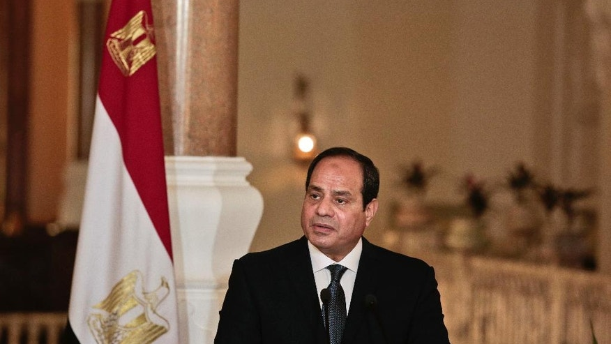FILE -- In this March 2, 2017 Egyptian President Abdel-Fattah el-Sissi meets with German Chancellor Angela Merkel, during a press conference, at the presidential palace in Cairo, Egypt, Thursday, March 2, 2017. Making his first official visit to Washington since taking office in 2014, Abdel-Fattah el-Sissi's meeting this week with U.S. President Donald Trump would be a significant step in the international rehabilitation of the general-turned-politician who was kept out of the Obama White House. (AP Photo/Nariman El-Mofty, File)