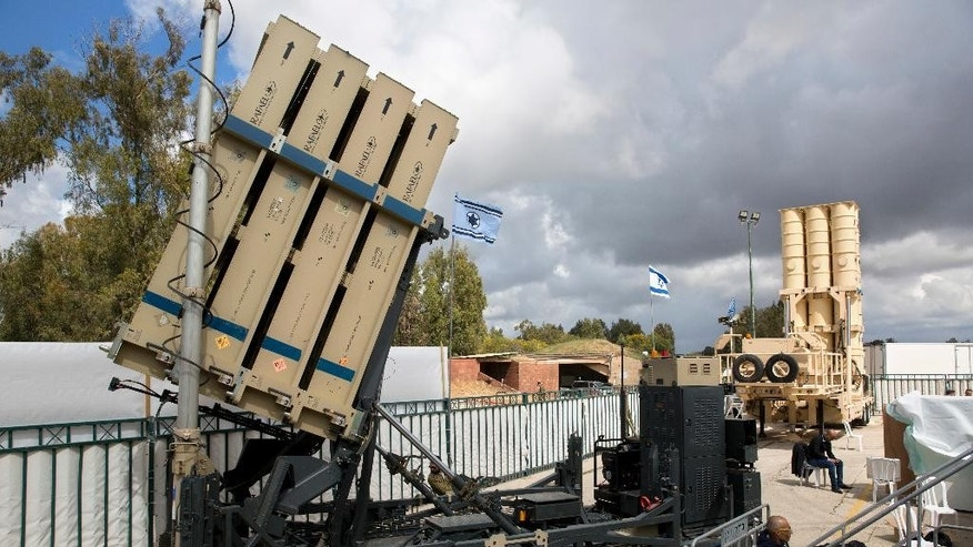 Israeli Air Defense Systems are seen during a ceremony inaugurating a joint U.S.-Israeli missile interceptor at the Hatzor Air Base, Israel. Sunday, April 2, 2017. David's Sling, meant to counter medium-range missiles possessed by Iranian-backed Hezbollah militants in Lebanon, officially became operational at the ceremony, the military said. (AP Photo/Sebastian Scheiner)