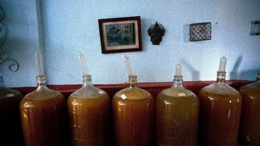 In this March 30, 2017 photo, several condom topped wine jugs stand in winemaker Orestes Estevez' house in Havana, Cuba. The condoms slowly inflate as the fruity mix ferments and produces gases. When the contraceptive is fully inflated, they know that the fermentation is done and the wine is ready to serve. (AP Photo/Ramon Espinosa)