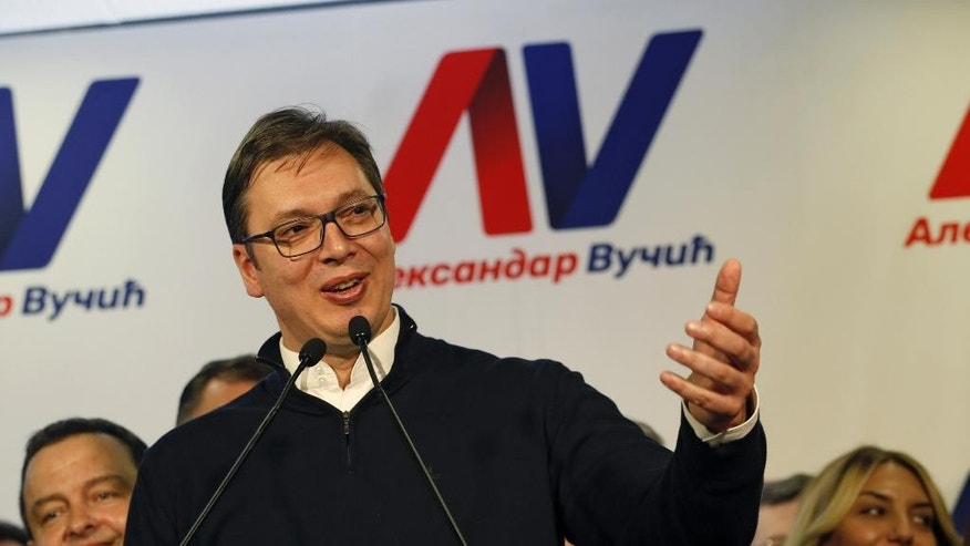 Serbian Prime Minister and presidential candidate Aleksandar Vucic, speaks during a press conference after claiming victory in the presidential election, in Belgrade, Serbia, Sunday, April 2, 2017. Vucic claimed victory Sunday in the presidential election that was a test of his authoritarian rule amid growing Russian influence in the Balkan region. (AP Photo/Darko Vojinovic)