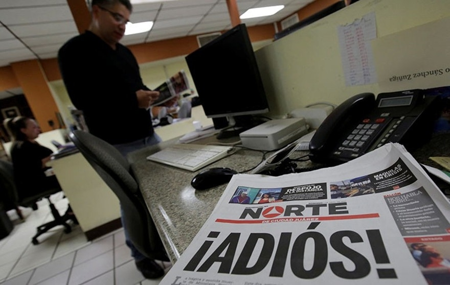 "El Norte newspaper is pictured after the paper announced its closure due to what it says is a situation of violence against journalists in Ciudad Juarez, Mexico, April 2, 2017. The word reads, ""Goodbye!"". REUTERS/Jose Luis Gonzalez     TPX IMAGES OF THE DAY - RTX33RW8"
