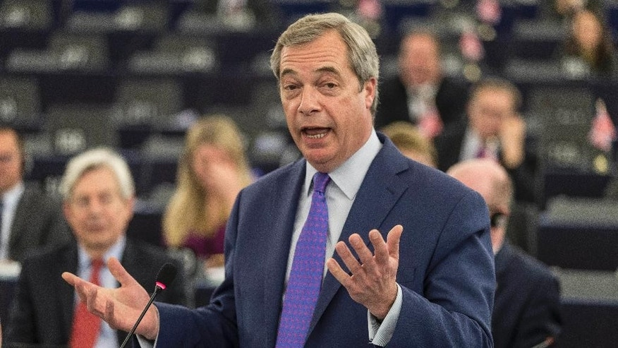 "Britain's former UKIP leader Nigel Farage speaks to members of the European Parliament during a session in Strasbourg, eastern France, Wednesday, April 5, 2017. The European Union's chief negotiator in the upcoming divorce proceedings with Britain says that parallel talks on its exit from the EU and a future trade relationship ""is a very risky approach"" he is bent on avoiding. (AP Photo/Jean-Francois Badias)"