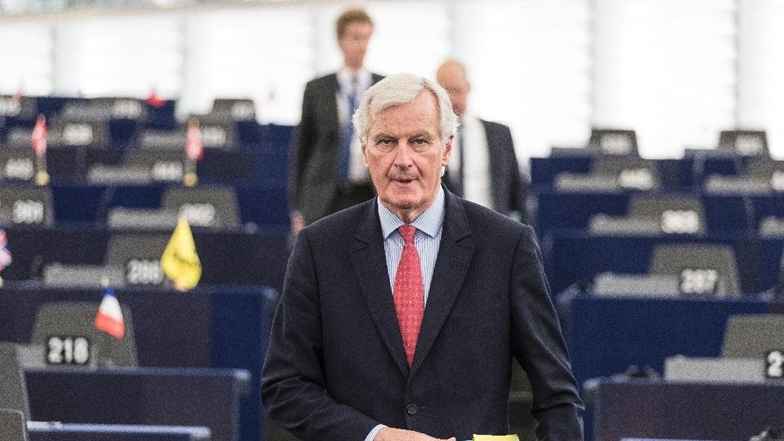 "European Chief Negotiator of the Task Force for the Preparation and Conduct of the Negotiations with the United Kingdom under Article 50, Michel Barnier, arrives at the European Parliament in Strasbourg, eastern France, Wednesday, April 5, 2017. The European Union's chief negotiator in the upcoming divorce proceedings with Britain says that parallel talks on its exit from the EU and a future trade relationship ""is a very risky approach"" he is bent on avoiding. (AP Photo/Jean-Francois Badias)"