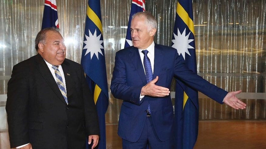 Nauru President Baron Divavesi Waqa, left, meets with Australian Prime Minister Malcolm Turnbull at the Commonwealth Parliamentary Offices in Sydney, Thursday, April 6, 2017. (Mark Metcalf/Pool Photo via AP)