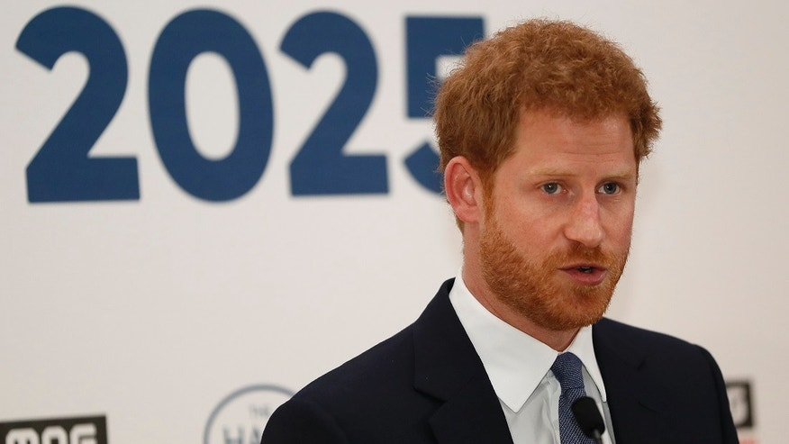 Britain's Prince Harry delivers a keynote speech at an International Mine Awareness Day reception at Kensington Palace in London, Tuesday, April 4, 2017.
