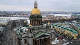 FILE -  This  is  a Thursday, Jan. 12, 2017 file photo of an aerial view of St. Isaac's Cathedral in St. Petersburg, Russia.  The Hermitage Museum Director Mikhail Piotrovsky  has urged the head of the Russian Orthodox Church in a letter Wednesday Jan. 25 2017,  to recall its bid for a landmark St. Petersburg cathedral. Several hundred people have rallied outside the iconic St. Isaac's Cathedral earlier this month, fearing that its transferal from the city to the church may inhibit public access.  (AP Photo/Dmitri Lovetsky, File)