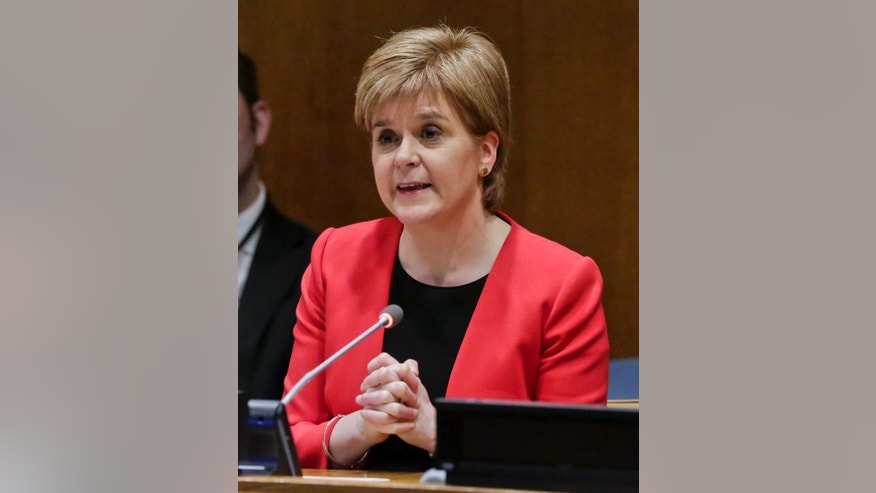 Scotland's First Minister Nicola Sturgeon addresses a United Nations conference, Wednesday, April 5, 2017, at U.N. headquarters. (AP Photo/Bebeto Matthews)