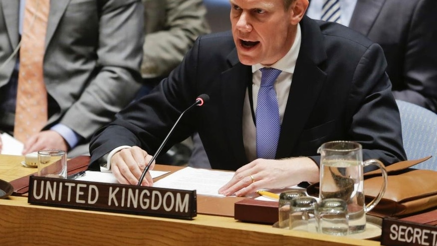 "Britain's United Nations Ambassador Matthew Rycroft speaks during a meeting of the Security Council on Syria at U.N. headquarters, Wednesday, April 5, 2017. Rycroft said the attack in Syria's rebel-held Idlib province ""bears all the hallmarks"" of President Bashar Assad's regime and the Britain believes a nerve agent capable of killing over a hundred people was used. (AP Photo/Bebeto Matthews)"