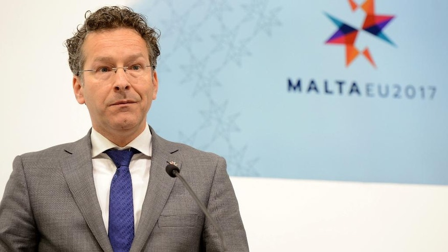 Eurozone chairman Jeroen Dijsselbloem speaks at a press conference following a meeting of European finance ministers, in Valletta, Malta, Friday, April 7, 2017. Greece and its international creditors took a big step Friday toward an agreement that will ensure the cash-strapped country gets the money it needs in time to avoid a potential bankruptcy this summer. (AP Photo/Rene Rossignaud)