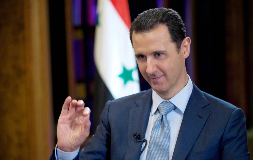"Feb. 10, 2015 - FILE photo of Syrian President Bashar Assad during an interview with the BBC, in Damascus, Syria. In an interview for CBS News' 60 Minutes. Assad says he would be ""open"" to a dialogue with the US, but that it must be ""based on mutual respect."""