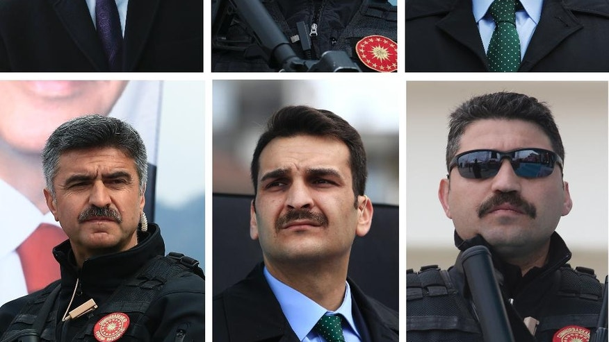 In this combo of images taken on Monday April 3, 2017, security personnel of Turkey's President Recep Tayyip Erdogan stand guard during his speech at a rally in his hometown Black Sea city of Rize, Turkey. Neatly-trimmed mustaches, similar to that worn by Turkish President Recep Tayyip Erdogan, have become increasingly popular among government ministers from his Islamic-rooted Justice and Development Party, or AKP, ahead of a crucial referendum Sunday, April 16 on expanding the president's powers. Some analysts say that's no fluke in a country where facial hair has a history of political significance, and where ministers' loyalty to Erdogan is being closely scrutinized following a failed coup attempt last year. (AP Photo/Lefteris Pitarakis)