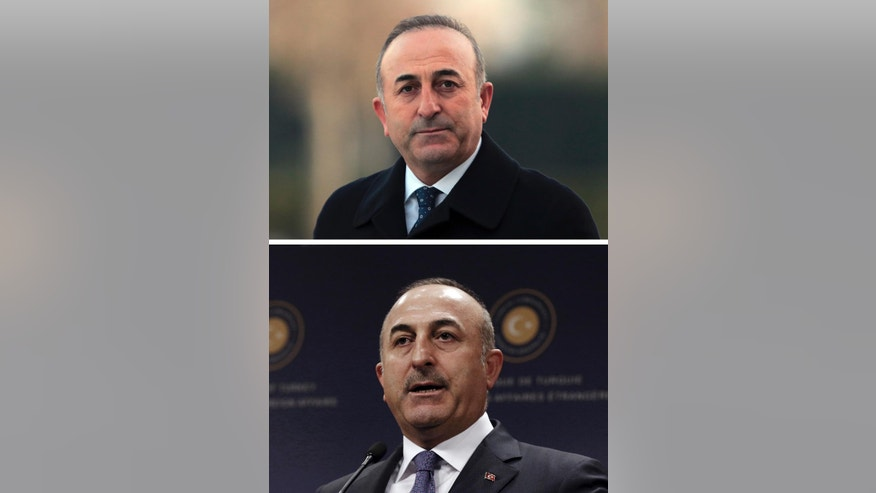 In this combo image, top photo shows Turkey's Foreign Minister Mevlut Cavusoglu as he attends a ceremony on Thursday, Dec. 10, 2015 in Ankara, Turkey, and the bottom photo shows Cavusoglu as speaks to the media during a news conference in Ankara, Turkey, on Tuesday, Nov. 15, 2016. Neatly-trimmed mustaches, similar to that worn by Turkish President Recep Tayyip Erdogan, have become increasingly popular among government ministers from his Islamic-rooted Justice and Development Party, or AKP, ahead of a crucial referendum Sunday, April 16 on expanding the president's powers. Some analysts say that's no fluke in a country where facial hair has a history of political significance, and where ministers' loyalty to Erdogan is being closely scrutinized following a failed coup attempt last year. One government minister, who spoke to The Associated Press on condition of anonymity, said some ministers grew facial hair because Erdogan urged them to. He declined to give further details. (AP Photo/Burhan Ozbilici, file)