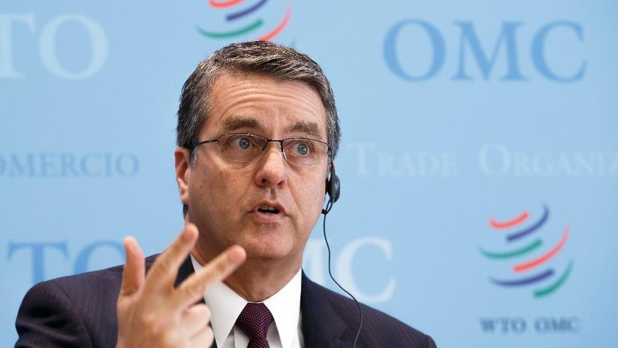Director General of the World Trade Organization, WTO, Brazilian Roberto Azevedo speaks during a press conference at the headquarters of the WTO in Geneva, Switzerland, Wednesday, April 12, 2017. The WTO is predicting an uptick in global trade this year and next after a lackluster 2016, while cautioning that uncertainty about policies like protectionism and anti-globalization present risks to its forecast.(Salvatore Di Nolfi/Keystone via AP)