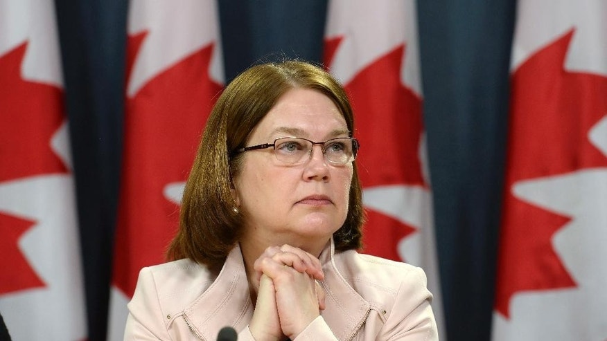 Health Minister Jane Philpott announces changes regarding the legalization of marijuana during a news conference in Ottawa, Thursday, April 13, 2017. (Adrian Wyld/The Canadian Press via AP)