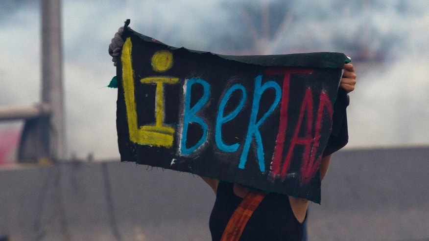 "A demonstrator holds up a banner with the Spanish word for ""freedom"" while standing in a cloud of tear gas launched by Bolivarian National Guard soldiers during an anti-government protest in Caracas, Venezuela, Thursday, April 13, 2017. Venezuela officials are confirming that a fifth person has died in a two-week old anti-government protest movement. (AP Photo/Ariana Cubillos)"