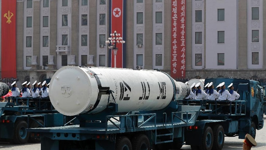 Submarine-launched ballistic missiles are paraded across Kim Il Sung Square during a military parade on Saturday, April 15, 2017, in Pyongyang, North Korea to celebrate the 105th birth anniversary of Kim Il Sung, the country's late founder and grandfather of current ruler Kim Jong Un. (AP Photo/Wong Maye-E)