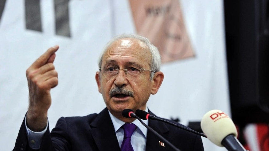 "Turkey's main opposition Republican People's Party leader Kemal Kilicdaroglu addresses his supporters during a last referendum rally in Ankara, Turkey, Saturday, April 15, 2017. Campaigning for Turkey's crucial referendum on whether to expand presidential powers entered its final stretch Saturday, with supporters of both ""yes"" and ""no"" campaigns addressing flag-waving supporters in Turkey's two main cities of Istanbul and Ankara. (AP Photo)"