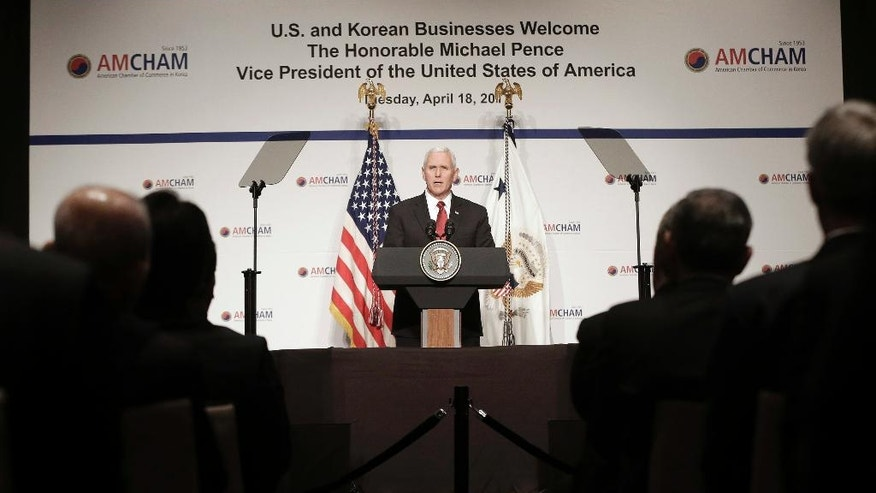 U.S. Vice President Mike Pence gives a speech to members of the American Chamber of Commerce in Korea at the Grand Hyatt Hotel in Seoul, South Korea, Tuesday, April 18, 2017. (AP Photo/Ahn Young-joon, Pool)