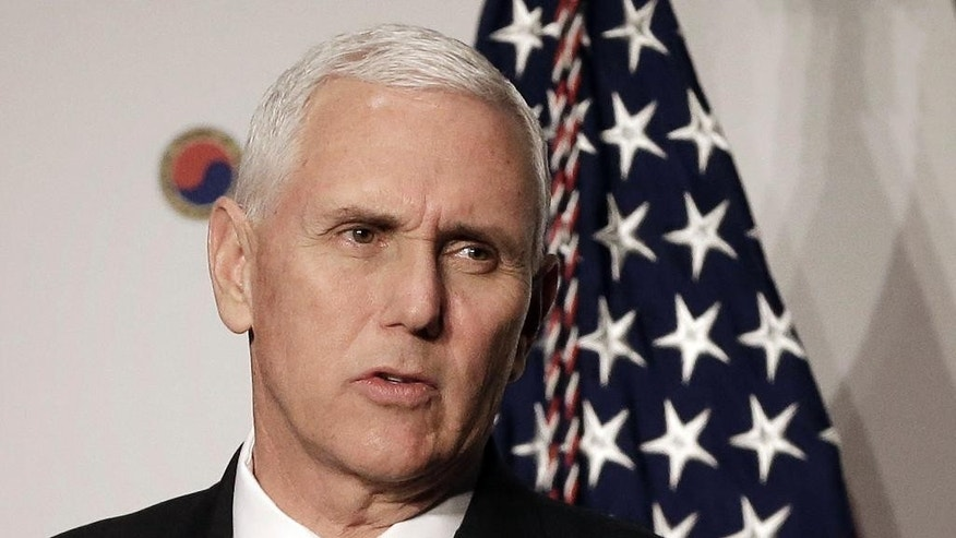 U.S. Vice President Mike Pence gives a speech to members of the American Chamber of Commerce at the Grand Hyatt Hotel in Seoul, South Korea, Tuesday, April 18, 2017. (AP Photo/Ahn Young-joon, Pool)
