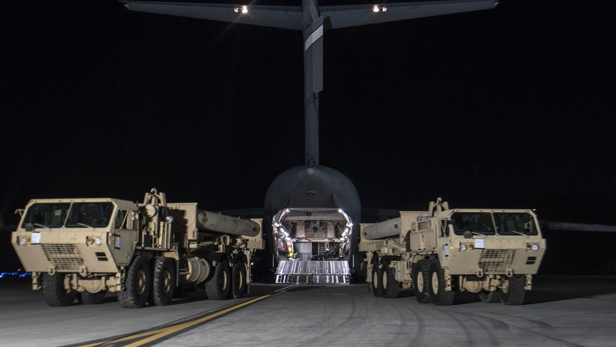 The first elements of THAAD missile system arrive in South Korea on March 6, 2017.