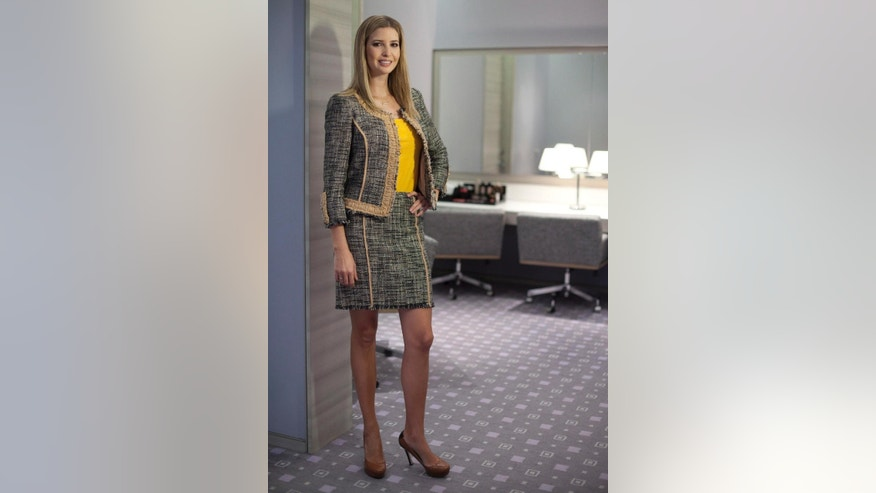 FILE - In this March 6, 2015, file photo, Ivanka Trump models an outfit following an interview to promote her clothing line in Toronto. As the first daughter crafts a new political career from her West Wing office, her brand is going strong, despite boycotts and several stores limiting her merchandise. (Pawel Dwulit/The Canadian Press via AP, File)/The Canadian Press via AP)