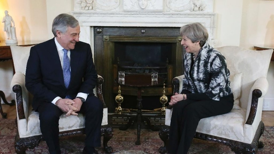 President of the European Parliament Antonio Tajani meets with Britain's Prime Minister Theresa May inside 10 Downing Street in London, Thursday April 20, 2017.  Britain is gearing up for parliamentary elections coming less than a year after Britain voted to leave the European Union, and will likely be dominated by the political and economic upheaval spawned by Brexit.  (Daniel Leal-Olivas/Pool via AP)