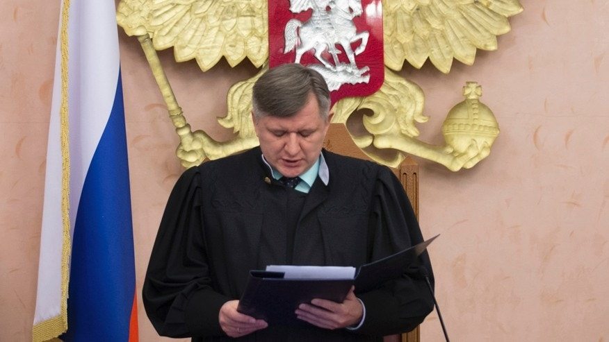 April 20, 2017: Russia's Supreme Court judge Yuri Ivanenko reads the decision in a court room in Moscow, Russia. The country's Supreme Court has banned the Jehovah's Witnesses from operating in Russia, accepting a request from the justice ministry that the religious organisation be considered an extremist group.