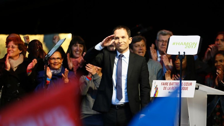 French Socialist presidential candidate Benoit Hamon attends a last-ditch rally and concert in Paris, Wednesday, April 19, 2017. Hamon is polling a distant fifth place ahead of Sunday's first-round election and has little chance of reaching the decisive May 7 runoff. (AP Photo/Francois Mori)