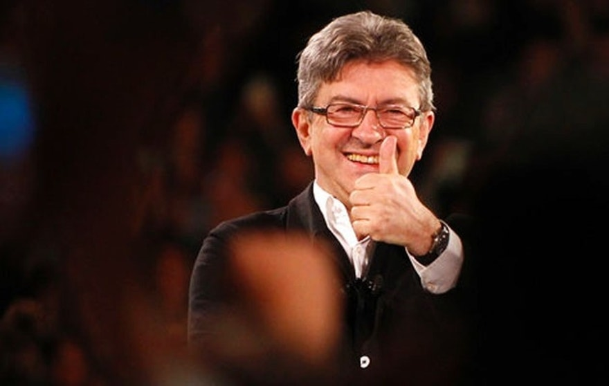 FILE - In this April 12, 2017 file photo, French hard-left party leader and candidate for the 2017 presidential election, Jean-Luc Melenchon gestures during a meeting in Lille, northern France. Now at the peak of his popularity, the far-left French presidential candidate is the new face of French populism, embodying the fight against austerity politics in the European Union, where he feels money, not people, is king. (AP Photo/Michel Spingler, File)