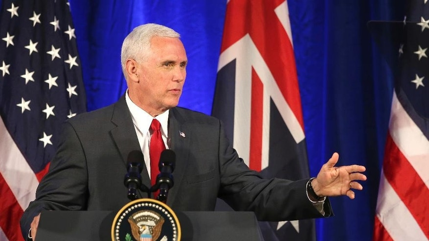 U.S. Vice President Mike Pence makes remarks after attending a business listening session with Australian and U.S. companies in Sydney, Saturday, April 22, 2017. Pence and Australia's prime minister swept aside any lingering tensions Saturday over an Obama era agreement on the resettlement of refugees, joining forces to urge China to take a greater role in pressuring North Korea to scuttle its nuclear weapons and missile program. (AP Photo/Rick Rycroft)
