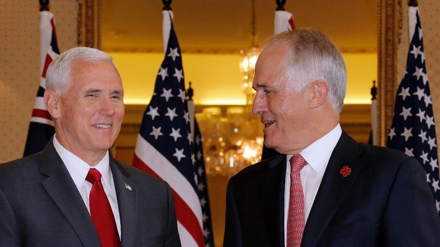 U.S. Vice President Mike Pence, left, meets with Australia's Prime Minister Malcolm Turnbull at Admiralty House in Sydney, Saturday, April 22, 2017. (Jason Reed/Pool Photo via AP)
