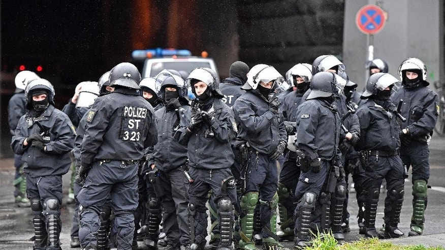 Police secures the city center of Cologne, Germany during the party convention of Germany's nationalist party AfD (Alternative for Germany), Saturday, April 22, 2017. (AP Photo/Martin Meissner)