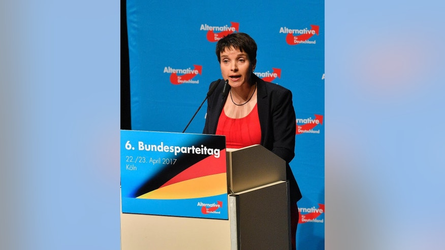 Co-leader Frauke Petry holds a speech at the party convention of Germany's nationalist party AFD (Alternative for Germany) in Cologne, Germany, Saturday, April 22, 2017. The convention takes place days after AfD's Petry, who is Germany's best-known nationalist politician, said that she won't be her party's top candidate in the September general election, a decision that appears to reflect a growing split among its leading figures. (AP Photo/Martin Meissner)