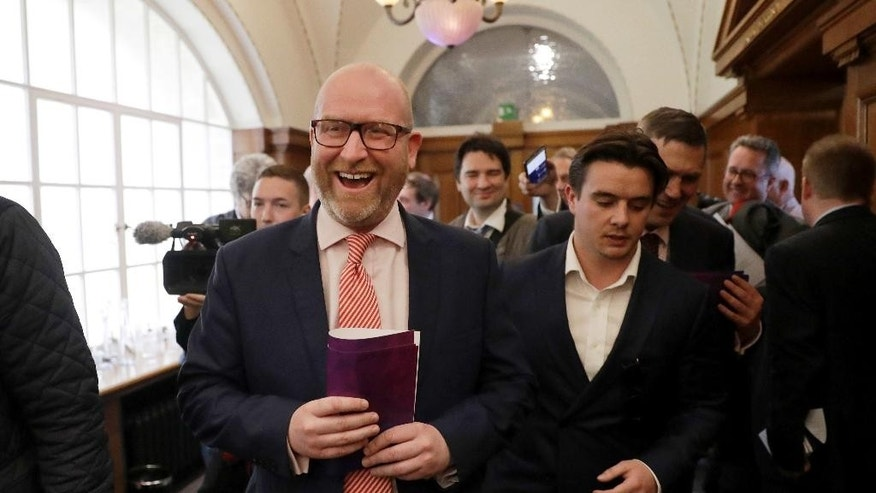 UK Independence Party leader Paul Nuttall leaves after their policy announcement press conference for Britain's upcoming general election at a hotel in London, Monday, April 24, 2017. (AP Photo/Matt Dunham)