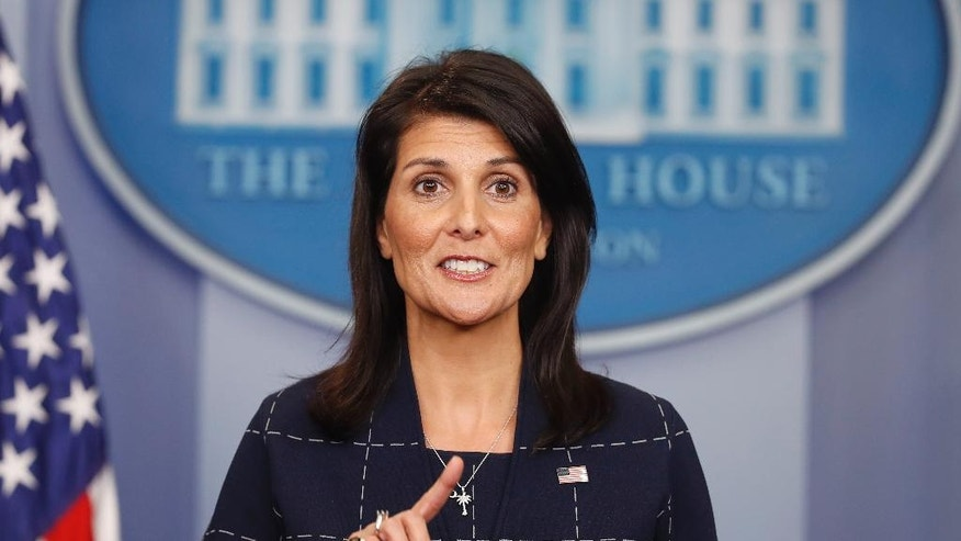 U.S. Ambassador to the UN Nikki Haley speaks to the media during the daily briefing in the Brady Press Briefing Room of the White House in Washington, Monday, April 24, 2017. (AP Photo/Pablo Martinez Monsivais)
