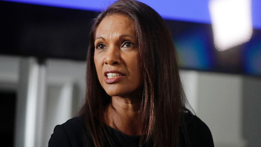 "Entrepreneur Gina Miller answers a journalist's question as she launches the ""Best for Britain"" campaign for tactical voting with campaign director Eloise Todd, for the upcoming British general election at the Institute of Contemporary Arts in London, Wednesday, April 26, 2017. Miller, an entrepreneur, became the face of the lawsuit which demanded that Britain's Prime Minister Theresa May's government get parliamentary approval before triggering Brexit. (AP Photo/Matt Dunham)"