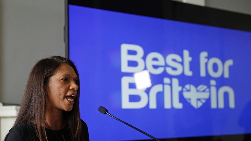 "Entrepreneur Gina Miller speaks at the launch for the ""Best for Britain"" campaign for tactical voting with campaign director Eloise Todd, for the upcoming British general election at the Institute of Contemporary Arts in London, Wednesday, April 26, 2017. Miller, an entrepreneur, became the face of the lawsuit which demanded that Britain's Prime Minister Theresa May's government get parliamentary approval before triggering Brexit. (AP Photo/Matt Dunham)"