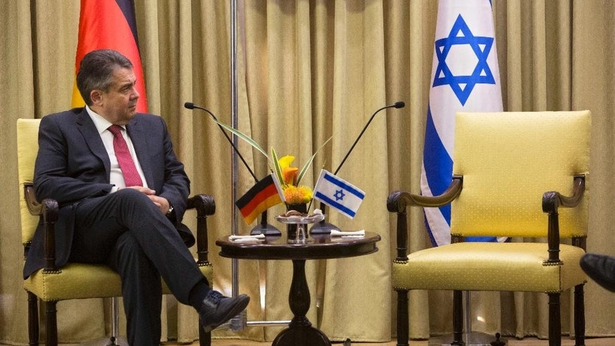 "German Foreign Minister, Sigmar Gabriel looks on during his meeting with Israel's President, Reuven Rivlin at the President's residence in Jerusalem, Tuesday, April 25, 2017. Gabriel said Tuesday it would be ""regrettable"" if Israeli Prime Minister Benjamin Netanyahu cancels their planned talks in Jerusalem because of his meeting with groups critical of Israel's actions in the West Bank, but downplayed the spat. (AP Photo/Sebastian Scheiner)"