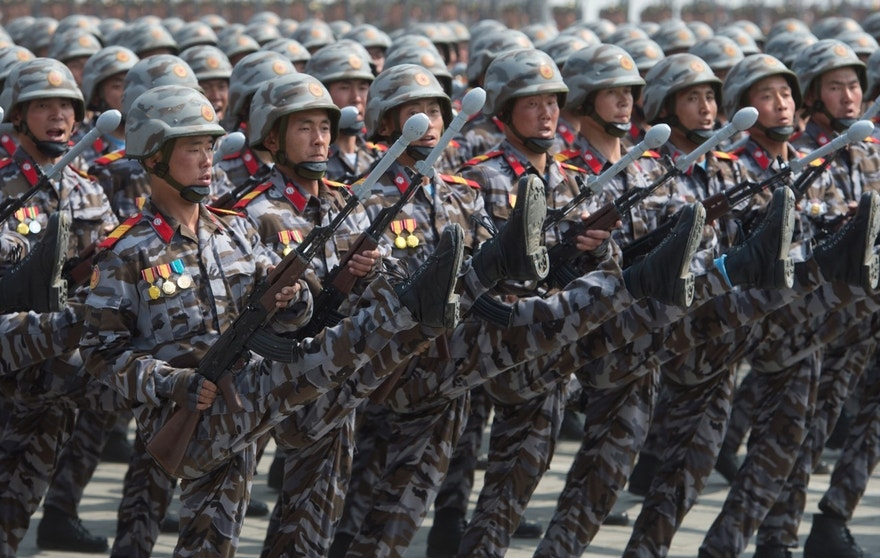 3074189 04/15/2017 Soldiers during a military parade marking the 105th birthday of Kim Il-Sung, the founder of North Korea, in Pyongyang. Iliya Pitalev/Sputnik  via AP