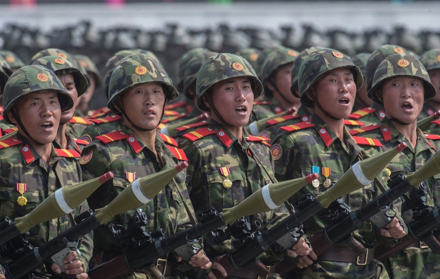 3074106 04/15/2017 Soldiers during a military parade marking the 105th birthday of Kim Il-Sung, the founder of North Korea, in Pyongyang. Iliya Pitalev/Sputnik  via AP