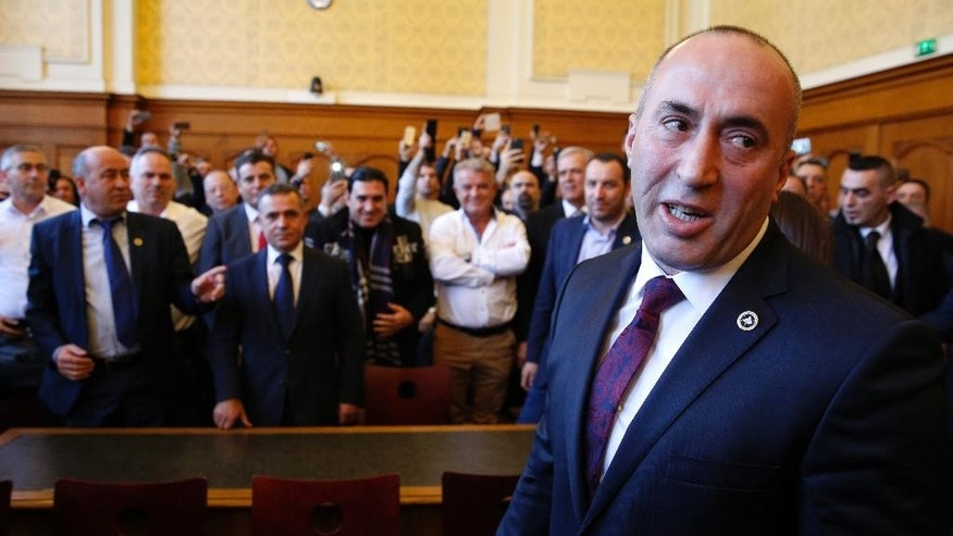FILE - In this March 2, 2017 file photo, Ramush Haradinaj, a former Kosovo prime minister, appears in court in Colmar, eastern France. A French court refuses Thursday April 27, 2017 to extradite former Kosovo prime minister to Serbia to face war crimes charges. (AP Photo/Jean-Francois Badias)