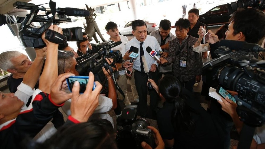 Director-General of South Bangkok Prosecutor's Office Suthi Kittisupaporn talks to reporters at the South Bangkok prosecutor's office in Bangkok, Thailand, Thursday, April 27, 2017. Prosecutors in Bangkok say Red Bull heir Vorayuth Yoovidhya has again asked for a meeting with them to be postponed, so further delaying attempts to lay charges against him in connection with a fatal hit and run accident more than four years ago. (AP Photo/Sakchai Lalit)