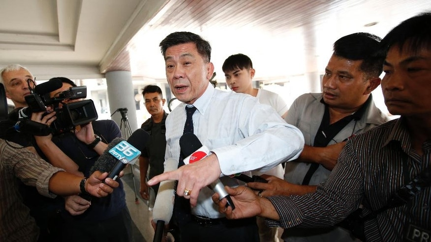 Director-General of South Bangkok Prosecutor's Office Suthi Kittisupaporn talks to reporters at South Bangkok prosecutor's office in Bangkok, Thailand, Thursday, April 27, 2017. Prosecutors in Bangkok say Red Bull heir Vorayuth Yoovidhya has again asked for a meeting with them to be postponed, so further delaying attempts to lay charges against him in connection with a fatal hit and run accident more than four years ago. (AP Photo/Sakchai Lalit)