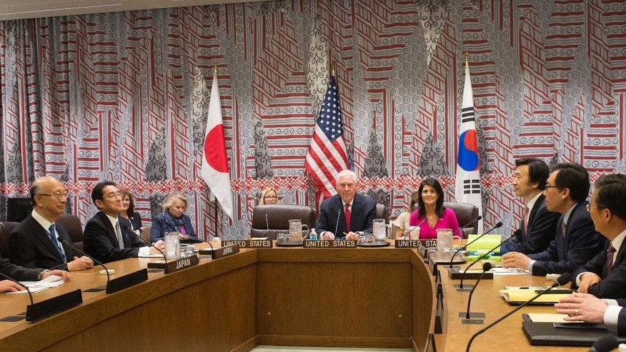 Secretary of State Rex Tillerson and U.S. Ambassador to the UN Nikki Haley hold a trilateral meeting with Japan Foreign Minister Kishida, left, and Korea Foreign Minister Yun, right at the United Nations, Friday, April 28, 2017. (Bryan R. Smith/Pool Photo via AP)