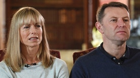 "Kate and Gerry McCann, whose daughter Madeleine disappeared from a holiday flat in Portugal ten-years ago, react during a BBC TV interview in Loughborough, England, Friday April 28, 2017.  The parents of Madeleine McCann have vowed to do ""whatever it takes for as long as it takes"" to find her as they prepare to mark the tenth anniversary of her disappearance on the evening of 3 May 2007, from her bed in a holiday apartment in Praia da Luz resort in the Algarve, Portugal. (Joe Giddens/Pool via AP)"