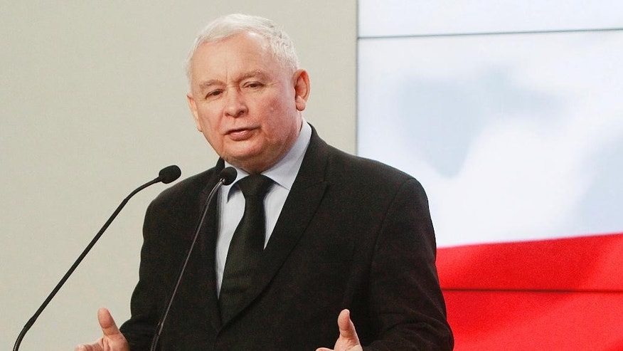 "FILE - In this Monday, Mach 13, 2017 file photo, Jaroslaw Kaczynski, the leader of the ruling Law and Justice Party speaks at a news conference in Warsaw, Poland. Poland's Foreign Ministry said Tuesday, May 2, 2017 that French presidential candidate Emmanuel Macron made an ""unacceptable"" comparison when he likened Poland's government to the ""regimes"" of Russia's Vladimir Putin and Hungary's Viktor Orban. (AP Photo/Czarek Sokolowski, File)"