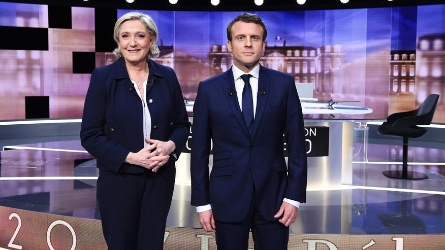 French presidential candidates Le Pen and Macron